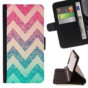 - chevron pink mint green pattern stars - - Prima caja de la PU billetera de cuero con ranuras para tarjetas, efectivo desmontable correa para l Funny HouseFOR Samsung Galaxy S5 Mini, SM-G800