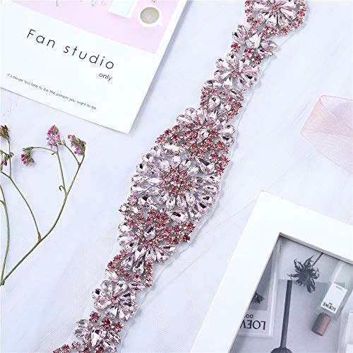 XINFANGXIU Bridal Wedding Dress Sash Belt Applique with Pink Crystals Rhinestones Handcrafted Sparkle Elegant Thin Sewn or Hot Fix for Women Gown Evening Prom Clothes