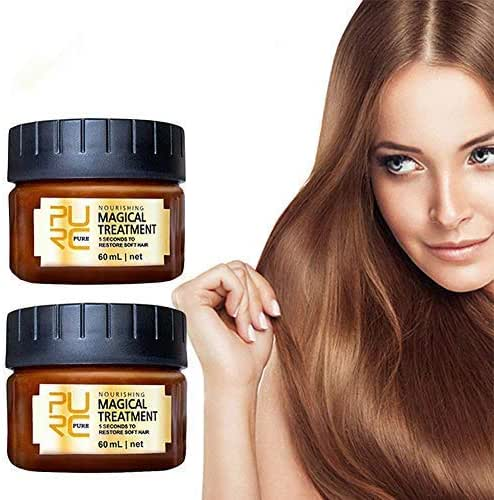 2 Pack Magical Hair Treatment Mask, Advanced Molecular Hair Roots Treatment Professtional Hair Conditioner, 5 Seconds to Restore Soft Hair, Instantly Service the Dry and Rough Hair Ends-60ml (2pcs)