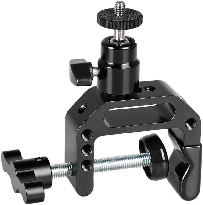 Black Locking Knob CAMVATE Heavy-Duty C Clamp Articulated 1//4-20 Ball Head Support Holder