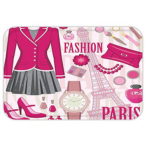 VROSELV Custom Door MatGirly Decor Fashion Theme in Pariwith OutfitDresWatch Purse Perfume Parisienne Landmark Decor Decor Pink (Costumes Parisien)