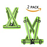 CZHEZEE Reflective Vest with Adjustable Strap Safety Vest(2 Pack) Suit for Running, Cycling, Walking, Skateboarding