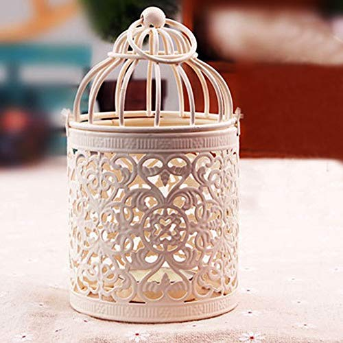 Gold Happy Hollow Holder Tealight Candlestick Hanging Lantern Vintage Bird Cage Wrought White