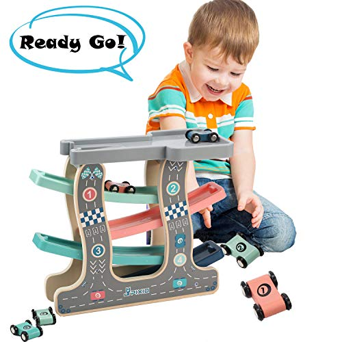 (Wondertoys Wooden Race Car Track Parking Garage Preschool Toys for 1 2 Years Old Toddlers Ramp Racer with 4 Mini Cars)