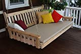 BEST CEDAR HANGING PORCH SWING BED, 6' Swinging Daybed for Creating Beautiful & Relaxing Moments, Perfect Seating Fun for Porches & Pergola, US Made with Gorgeous Red Cedar