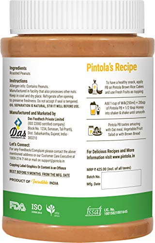 Pintola All Natural Peanut Butter (Crunchy) (1kg)   Unsweetened   30g Protein   Non GMO   Gluten Free   Vegan   Cholesterol Free 2