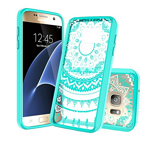 Case Samsung Galaxy S7 Phone Clear Case,AnoKe Mandala Cute Ultra Thin Slim Fit TPU Bumper PC Hard Back Protective Cell Phone Cover for Women Girls Kids Galaxy S7 2016 Verizon unlocked TM Mint