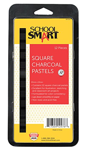 Square Charcoal - School Smart Square Compressed Charcoal Sticks - 2 3/8 x 3/8 - Set of 12 - Black
