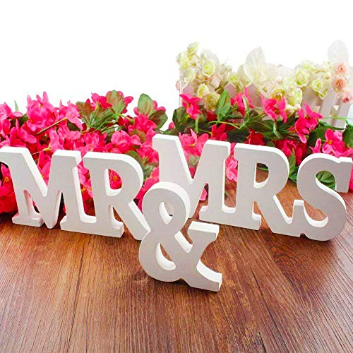 BESTZY MR & MRS Wood Letters Capital Letters Sign Top Table Decorative Wall Alphabet Wooden Letters Bridal Wedding Party Birthday Toys Home Decorations (Mr And Mrs Letters For Top Table)