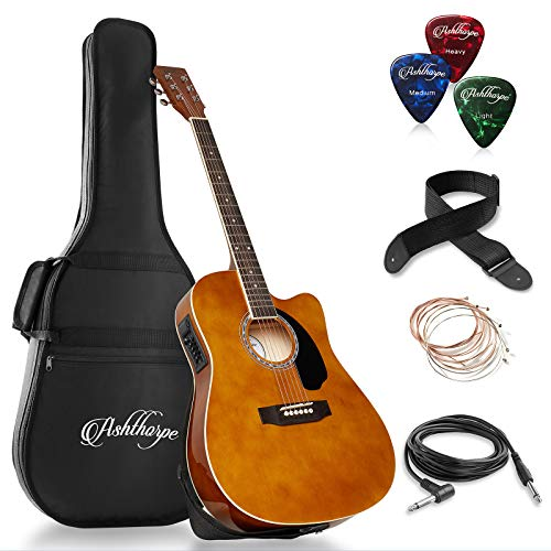 - Ashthorpe Full-Size Cutaway Thinline Acoustic-Electric Guitar Package - Premium Tonewoods - Brown