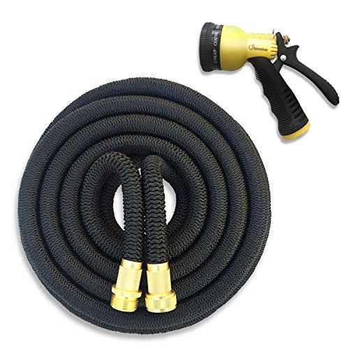 NaturoHose New {IMPROVED} Expandable Garden Hose (25ft,50ft,75ft 100ft) Flexibal Portable Water Hose With 8 Pattern Spray Nozzle (25FT)