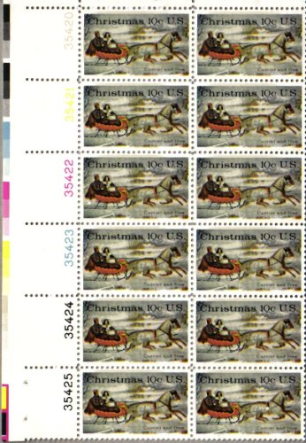 1974 CHRISTMAS POSTAGE ~ 2 HORSE SLEIGH ~ CURRIER & IVES #1551 Plate Block of 12 x 10¢ US Postage Stamps