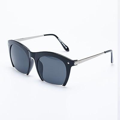 LXKMTYJ Noir et Blanc Lunettes de soleil Femme Metal Couple créatif de l'Ouest Feuille de style rétro lunettes noires, noir