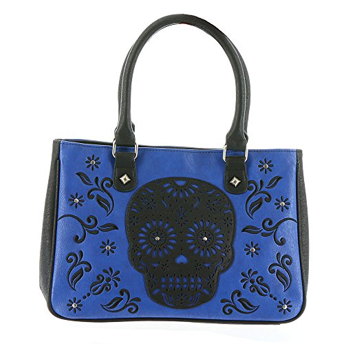 Loungefly Skull Laser Cut Tote Bag Blue-Black Blue Tote With Skull