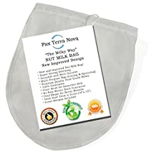 BEST NUT MILK BAG - New Fine Mesh Strainer Design Easier to Use - Super Strong - Fine Mesh Strainer Gives Amazing Smoother Milk - Oval Shape Gives Better Yield - Premium Food Grade Nylon! Will Outlast any Cheesecloth.
