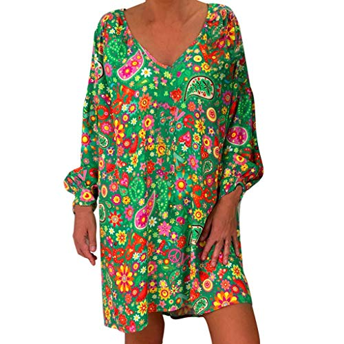 Witspace Women's Ladies Loose Print Three Quarter Sleeve Mini Long Dress Summer Dress Green