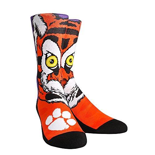 NCAA Clemson Tigers Custom Athletic Crew Socks, Large/X-Large, Clemson The Tiger Mascot