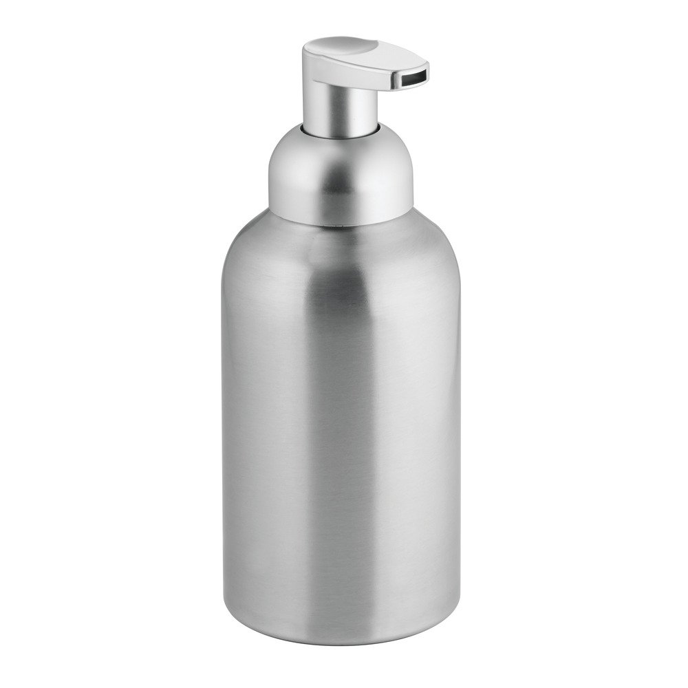 InterDesign Metro Aluminum Foaming Soap Dispenser Pump for Kitchen or Bathroom Vanity, Brushed/Silver
