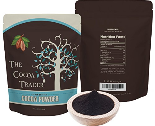 Black Cocoa Powder for Baking- All Natural Alkalized Unsweetened Cocoa for Coloring Agent in Baked Goods - Dutch Processed With Smooth Mellow Flavor - 1 LB, The Cocoa Trader -
