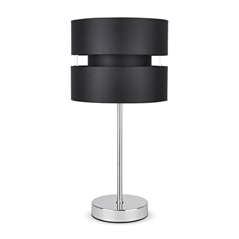 Modern Silver Chrome Touch Table Lamp with Black Shade: Amazon.co ...