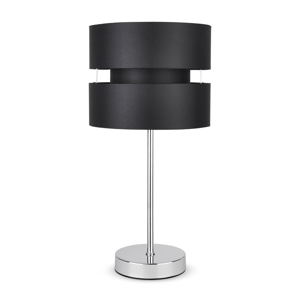 Modern silver chrome touch table lamp with black shade for Bedroom touch table lamps