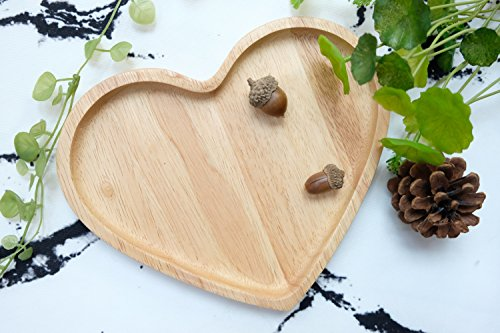 TJ HOMEDECOR Rubber Wood Heart Shape Serving Tray Plate 8 X 8