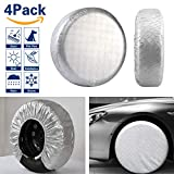 VIEFIN Set of 4 Wheel Tire Covers, Waterproof UV Sun Aluminum Film Tire Protectors for RV, Trailer, fit 27'' to 29'' Tire Diameter of Truck, Jeep, Camper, Van, Auto Car
