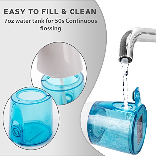 Water Flosser Cordless Rechargeable Portable IPX7 Technology Dental Waterjet with WATER PROOF TRAVEL CASE - 2 tips (Ocean Blue) by Tizlo (Image #3)