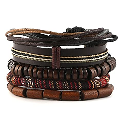 HZMAN Mix 5 Wrap Bracelets Men Women, Hemp Cords Wood Beads Ethnic Tribal Bracelets, Leather - Bracelets
