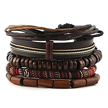 - 519eeeUr9FL - HZMAN Mix 4 Wrap Bracelets Men Women, Hemp Cords Wood Beads Ethnic Tribal Bracelets, Leather Wristbands