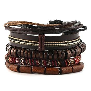 - 519eeeUr9FL - HZMAN Mix 4 Wrap Bracelets Men Women, Hemp Cords Wood Beads Ethnic Tribal Bracelets, Leather Wristbands