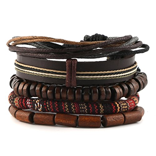 HZMAN Mix 5 Wrap Bracelets Men Women, Hemp Cords Wood Beads Ethnic Tribal Bracelets, Leather Wristbands ()