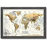 Executive World Push Pin Map - The Magellan World Map - Large Framed Map - Professional Cartography