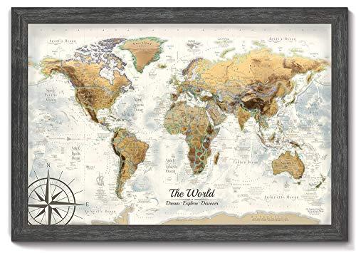 Executive World Push Pin Map - The Magellan World Map - Large Framed Map - Professional Cartography