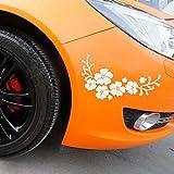 Fheaven Car Decal Delicate Flying Flower Auto Pattern Truck Car Hood Side Sticker (white)