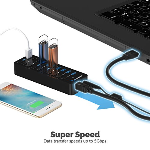 Sabrent 60W 7-Port USB 3.0 Hub + 3 Smart Charging Ports with Individual Power Switches and LEDs includes 60W 12V/5A power adapter (HB-B7C3) by Sabrent (Image #4)