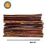 123 Treats - 12 inch Dog Bully Sticks (1 Pound Bag) 100% Natural Chews for Dogs & Puppies - Grass-Fed Free-Range Premium Beef Dog Chews - Bulk Dog Sticks Chew Dental Treats
