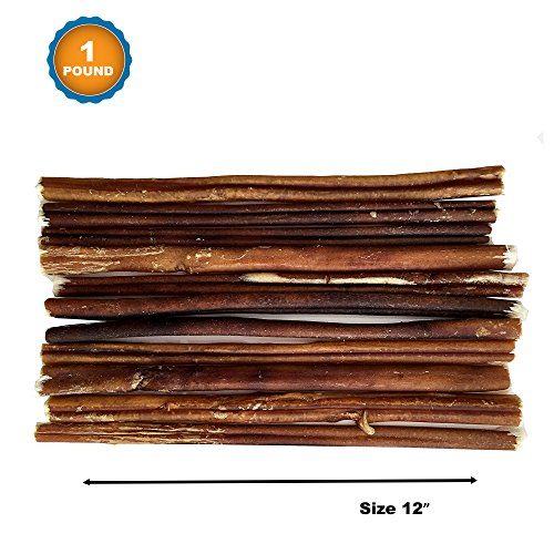 123 Treats - 12 inch Dog Bully Sticks (1 Pound Bag) 100% Natural Chews for Dogs & Puppies - Grass-Fed Free-Range Premium Beef Dog Chews - Bulk Dog Sticks Chew Dental Treats (Best Quality Bully Sticks)