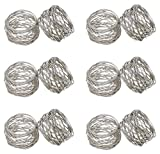 : SKAVIJ Round Mesh Napkin Rings Set of 12 Silver for Wedding Banquet Dinner Decor Favor