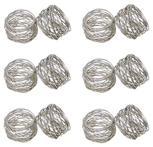 SKAVIJ Round Mesh Napkin Rings Set of 12 Silver for Wedding Banquet Dinner Decor Favor by SKAVIJ