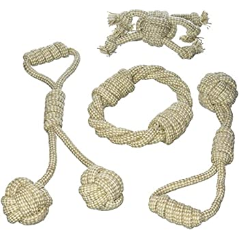 Organic Dye-Free Jute Cotton Fiber Dog Rope Toys Set of 4 by cuteNfuzzy