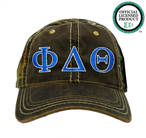 Phi Delta Theta (Phi Delt) Embroidered Camo Baseball Hat, Various Colors