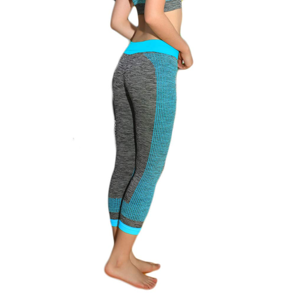 Ladies Yoga Pants,Mid Waist Workout Running Sports Fitness Scratched Leggings with Side Pockets (L, Sky Blue)