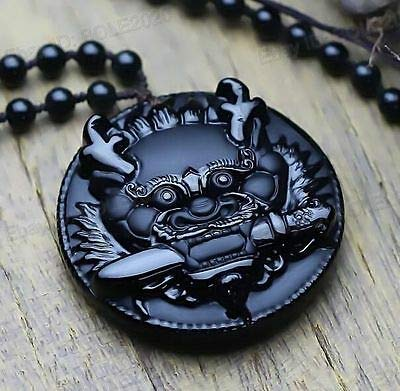 New Natural Black Obsidian Hand Carved Dragon Head Lucky Amulet Pendant Necklace