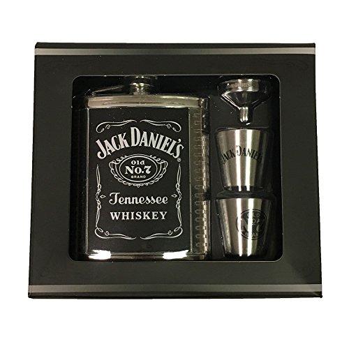 Jack Daniels Silver Label (Jack Daniels Flask with Two Shotglasses and Funnel Gift Set)