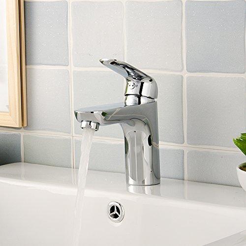 GOOAO Single Hole Lavatory Single Handle Bathroom Sink Faucet Stainless Steel Basin Mixer Taps Chrome (MA3360)