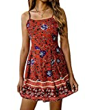 Ray-JrMALL Women Cute Spaghetti Jumpsuit Strap Boho Flower Printed Tie Waist Beach Romper Short Jumpsuit Red