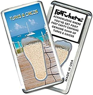 """product image for Turks & Caicos """"FootWhere"""" Magnet (TC201-Boardwalk). Authentic Destination Souvenir acknowledging Where You've Set Foot. Genuine Soil of Featured Location encased Inside Foot Cavity. Made in USA"""