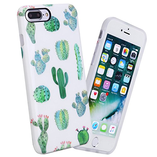 iPhone 7 Plus Case for Girls, iPhone 8 Plus Case, Women Best Protective Cute Slim White Shockproof Glossy Soft Flexible Clear Rubber TPU Silicone Cover Phone Case For Apple iPhone 7 Plus, Green Cactus Great Iphone Covers