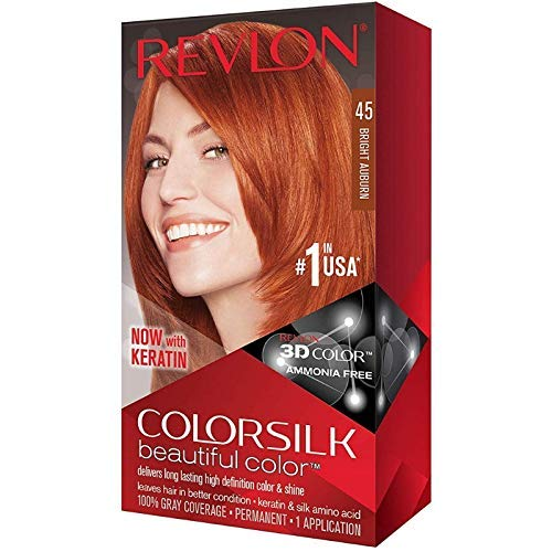 Revlon ColorSilk Beautiful Color [45], Bright Auburn, 1 ea (Pack of 3)